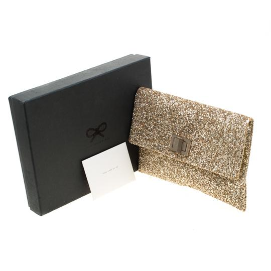 Anya Hindmarch Coated Fabric Leather Glitter Suede Gold Clutch Image 10