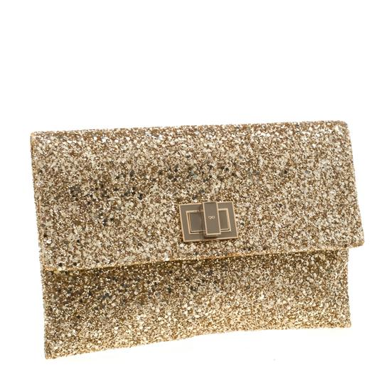 Anya Hindmarch Coated Fabric Leather Glitter Suede Gold Clutch Image 3