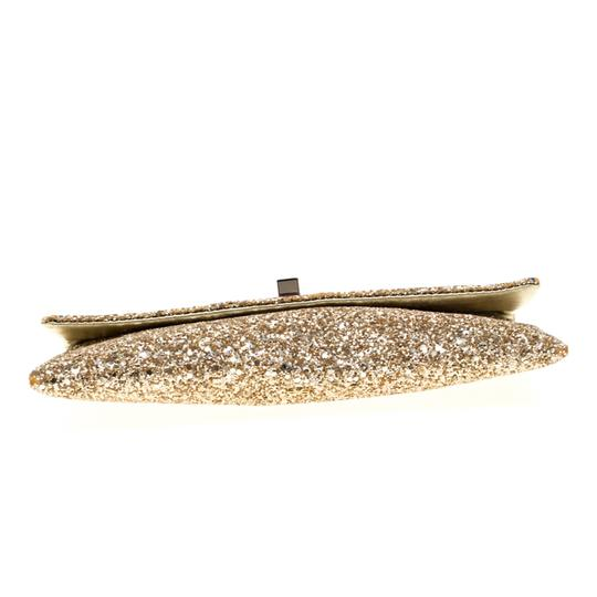 Anya Hindmarch Coated Fabric Leather Glitter Suede Gold Clutch Image 4