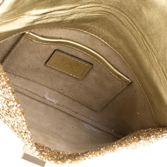 Anya Hindmarch Coated Fabric Leather Glitter Suede Gold Clutch Image 5