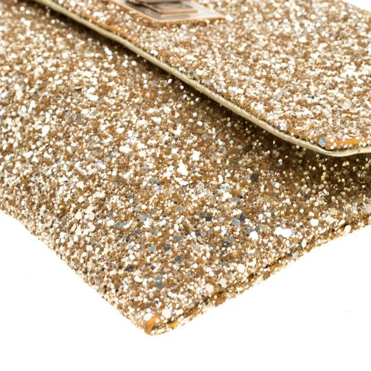 Anya Hindmarch Coated Fabric Leather Glitter Suede Gold Clutch Image 7