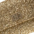 Anya Hindmarch Coated Fabric Leather Glitter Suede Gold Clutch Image 8