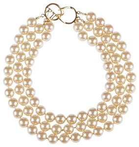 Kenneth Jay Lane KJL Triple Strand Faux Golden Pearl Necklace