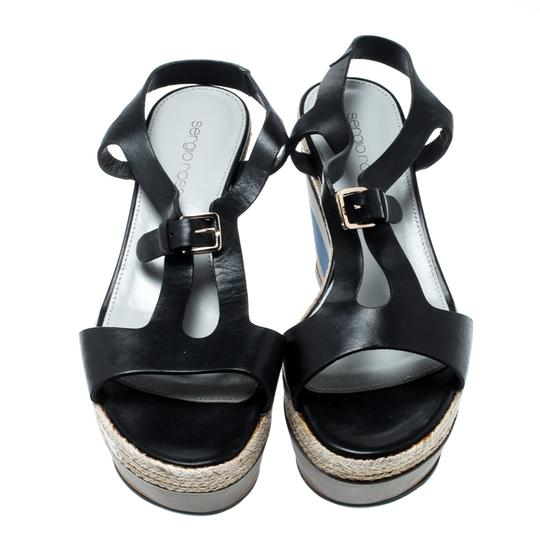 Sergio Rossi Leather Ankle Strap Rubber Black Sandals Image 1