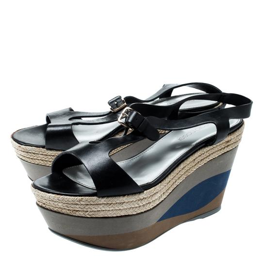 Sergio Rossi Leather Ankle Strap Rubber Black Sandals Image 3
