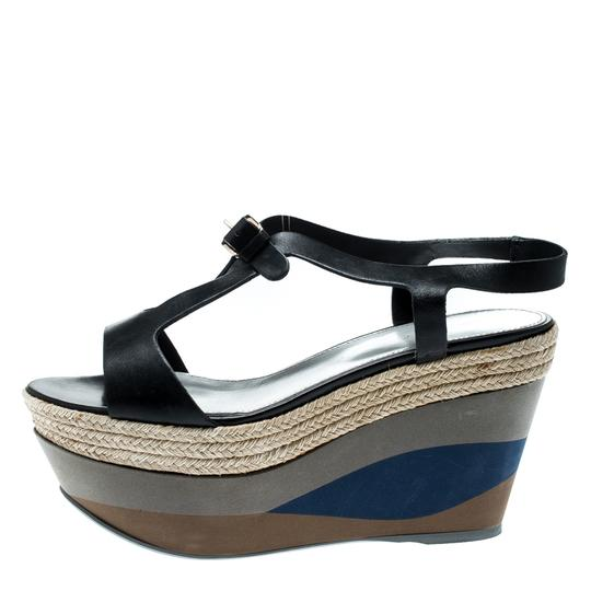 Sergio Rossi Leather Ankle Strap Rubber Black Sandals Image 5