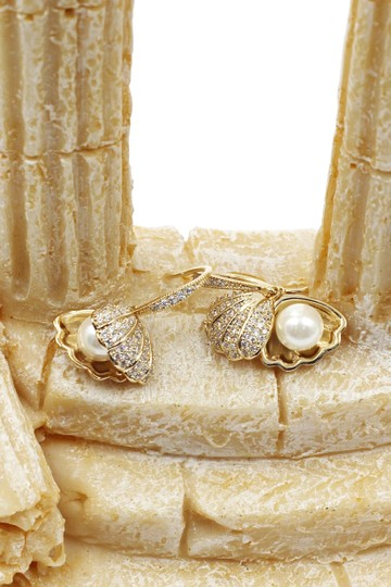 Ocean Fashion Shiny shell pearl gold necklace earrings set Image 10