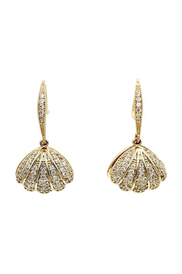 Ocean Fashion Shiny shell pearl gold necklace earrings set Image 4
