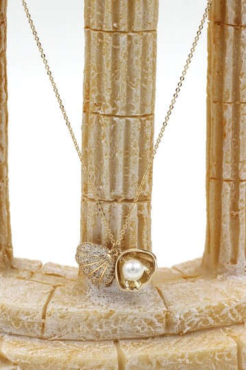 Ocean Fashion Shiny shell pearl gold necklace earrings set Image 8