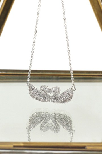 Ocean Fashion Silver double swan necklace Image 2