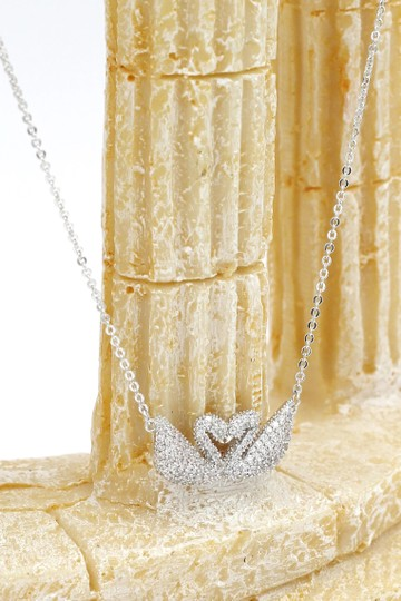 Ocean Fashion Silver double swan necklace Image 4