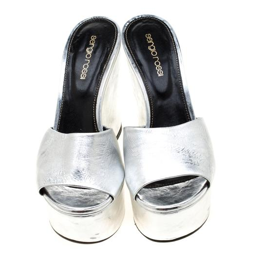 Sergio Rossi Metallic Leather Wedge Silver Sandals Image 1