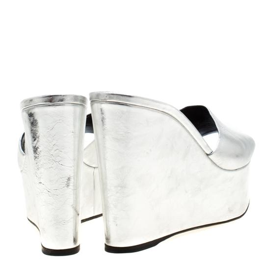 Sergio Rossi Metallic Leather Wedge Silver Sandals Image 2