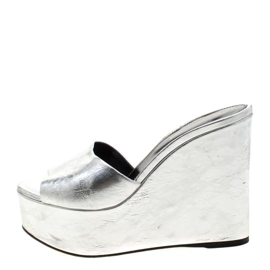 Sergio Rossi Metallic Leather Wedge Silver Sandals Image 3