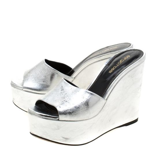 Sergio Rossi Metallic Leather Wedge Silver Sandals Image 4