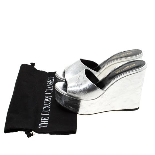 Sergio Rossi Metallic Leather Wedge Silver Sandals Image 7