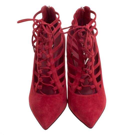 Le Silla Suede Lace Leather Red Boots Image 1