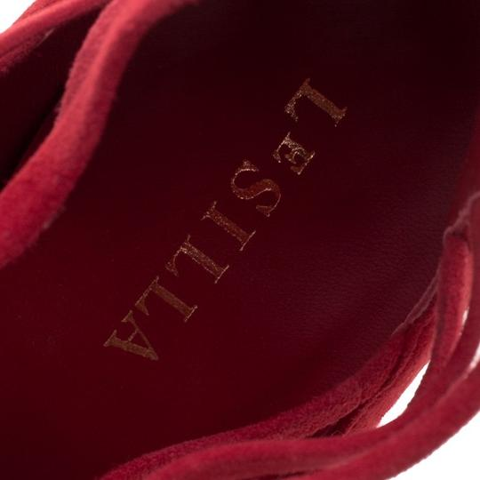 Le Silla Suede Lace Leather Red Boots Image 4