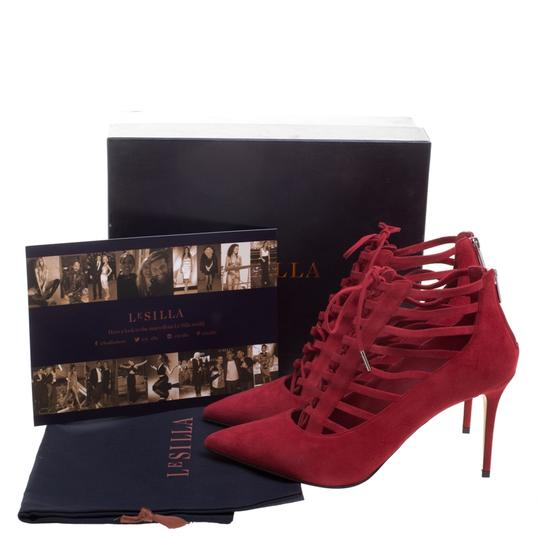 Le Silla Suede Lace Leather Red Boots Image 7