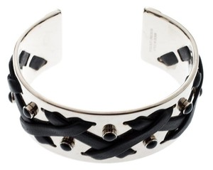 Tod's Black Leather Criss Cross Gold Tone Open Cuff Bracelet