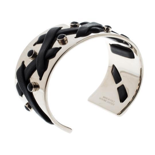 Tod's Black Leather Criss Cross Gold Tone Open Cuff Bracelet Image 1