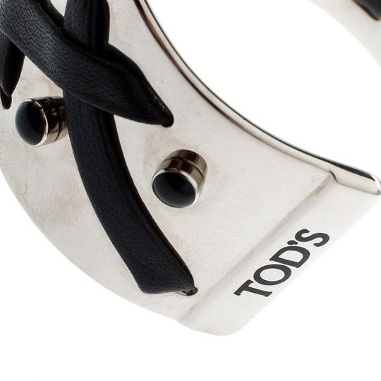 Tod's Black Leather Criss Cross Gold Tone Open Cuff Bracelet Image 3