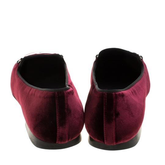 Tod's Velvet Slippers Leather Rubber Burgundy Flats Image 2