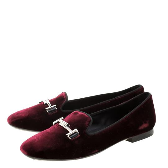 Tod's Velvet Slippers Leather Rubber Burgundy Flats Image 3