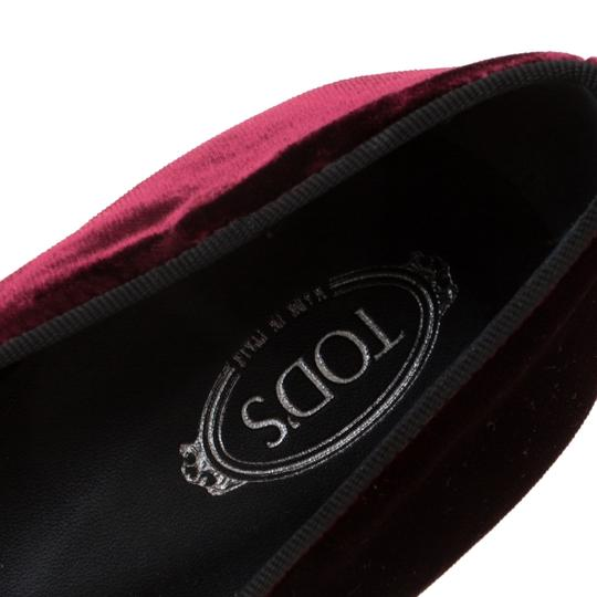 Tod's Velvet Slippers Leather Rubber Burgundy Flats Image 6