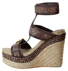 Alexander McQueen Studded Leather Ankle Strap Espadrille Wedge Brown Sandals