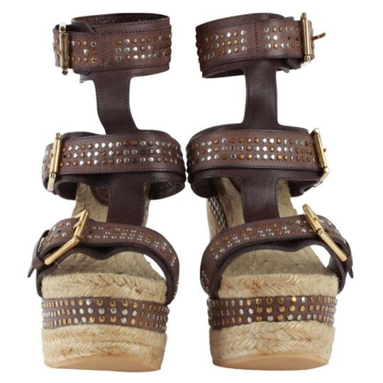 Alexander McQueen Studded Leather Ankle Strap Espadrille Wedge Brown Sandals Image 1