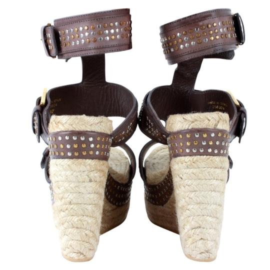 Alexander McQueen Studded Leather Ankle Strap Espadrille Wedge Brown Sandals Image 2