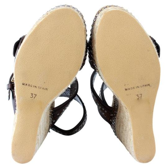 Alexander McQueen Studded Leather Ankle Strap Espadrille Wedge Brown Sandals Image 3