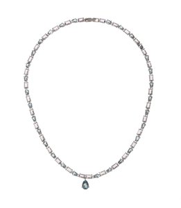 sterling silver Blue Topaz and Amethyst Eternity Necklace