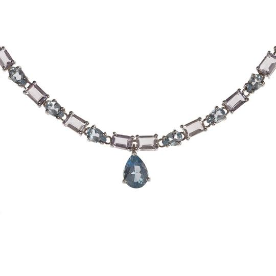 sterling silver Blue Topaz and Amethyst Eternity Necklace Image 1