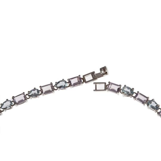 sterling silver Blue Topaz and Amethyst Eternity Necklace Image 3