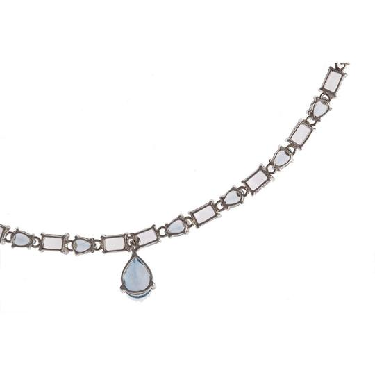 sterling silver Blue Topaz and Amethyst Eternity Necklace Image 4