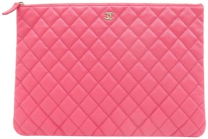 Chanel Quilted O-case Large Coral Clutch