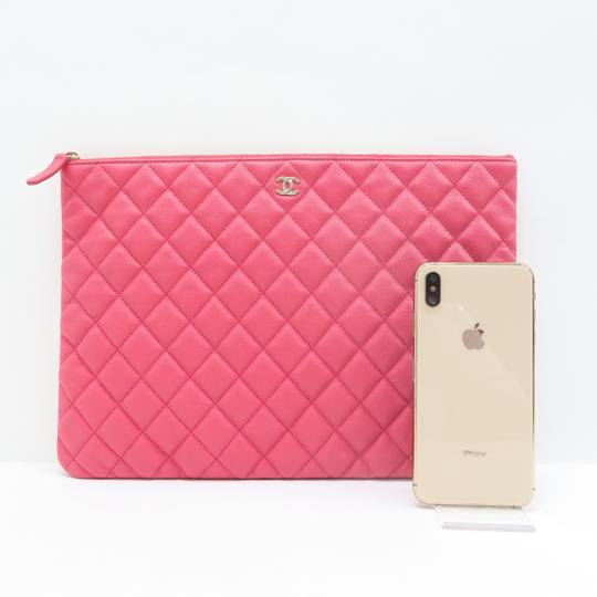 Chanel Quilted O-case Large Coral Clutch Image 1