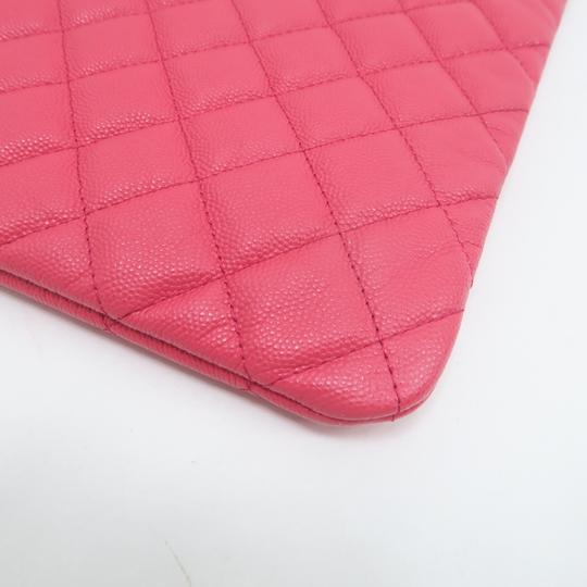 Chanel Quilted O-case Large Coral Clutch Image 6
