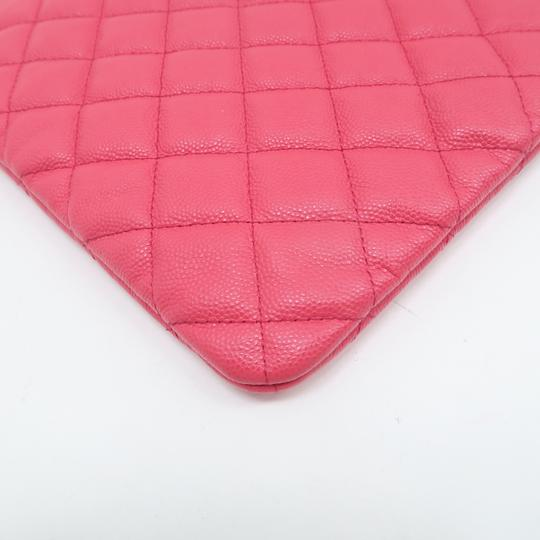 Chanel Quilted O-case Large Coral Clutch Image 7
