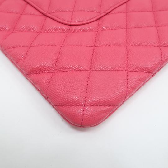 Chanel Quilted O-case Large Coral Clutch Image 8
