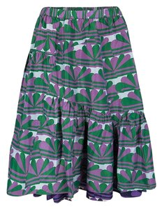 Marc Jacobs Printed Ruffle Silk Skirt Multicolor