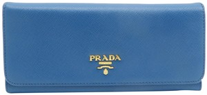 Prada Prada Blue Vitello Shine Flap Wallet
