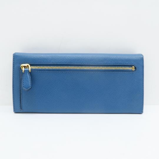 Prada Prada Blue Vitello Shine Flap Wallet Image 2