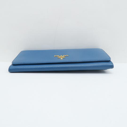 Prada Prada Blue Vitello Shine Flap Wallet Image 3
