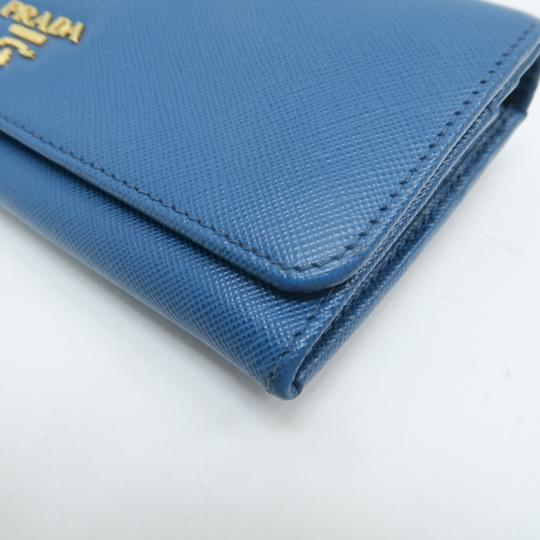 Prada Prada Blue Vitello Shine Flap Wallet Image 4
