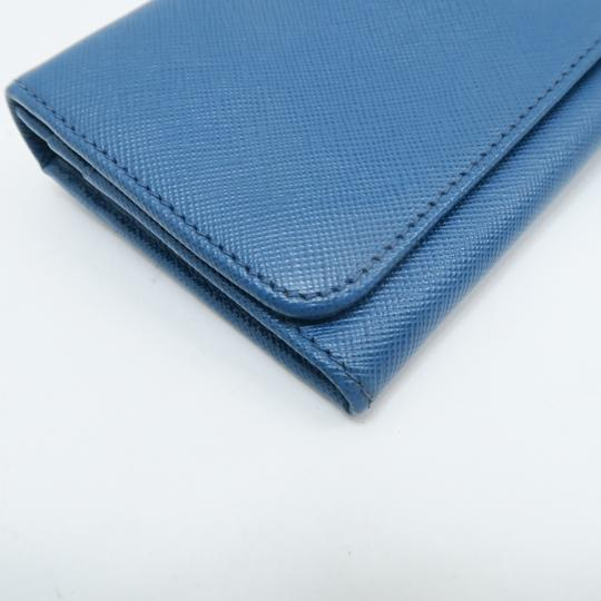 Prada Prada Blue Vitello Shine Flap Wallet Image 5