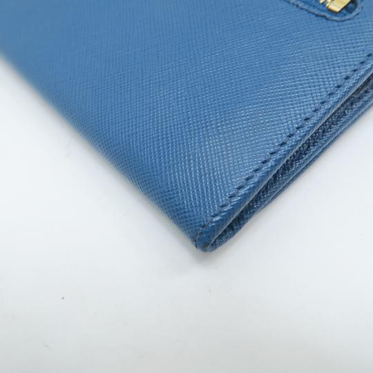 Prada Prada Blue Vitello Shine Flap Wallet Image 6