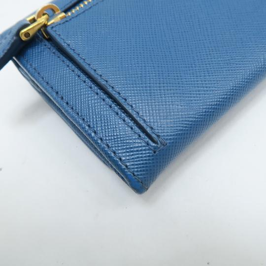 Prada Prada Blue Vitello Shine Flap Wallet Image 7
